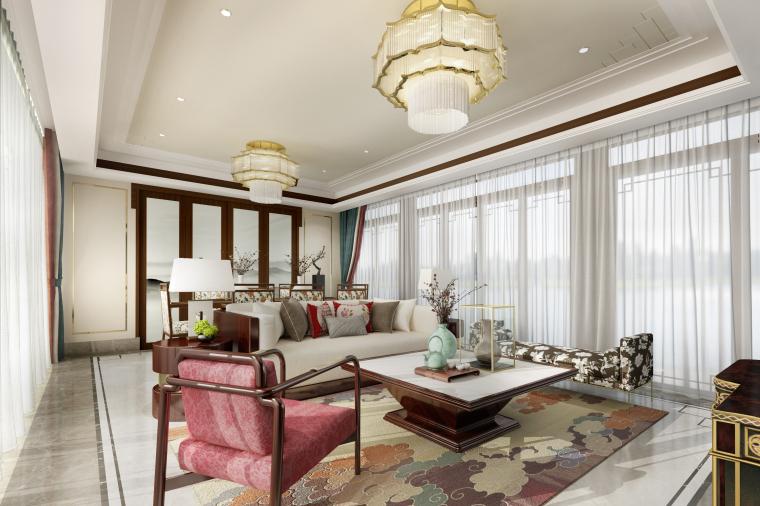 春暖花开|新中式客厅设计3D模型(附效果图)
