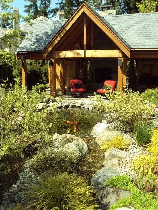 别墅庭院设计,一处水景让庭院活起来