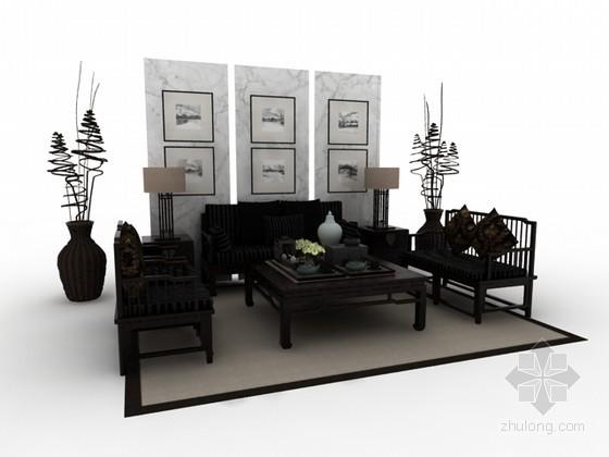 中式沙发茶几组合3d模型下载