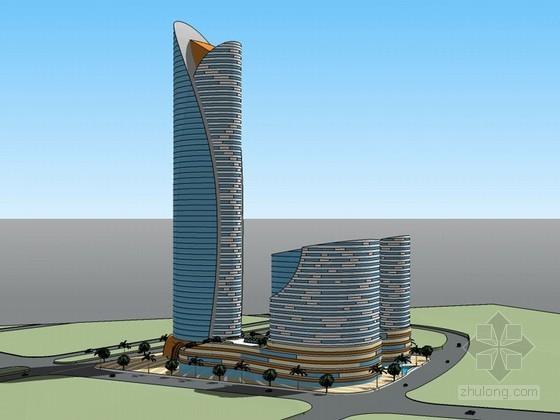 时尚椭圆形建筑SketchUp模型下载