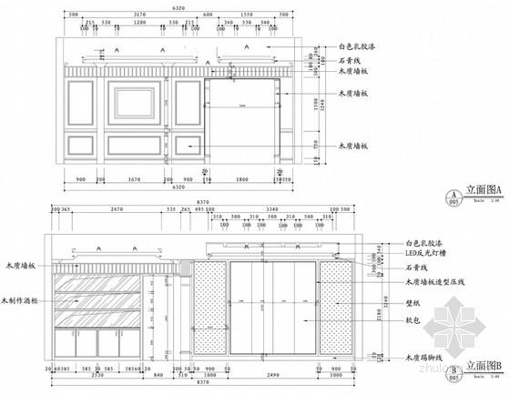 [沈阳]知名地产核心区新古典风格四居室样板间设计方案客厅立面图