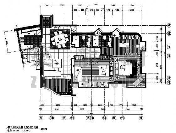 三室两厅两卫CAD装修图