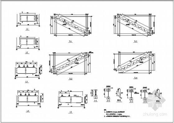 三跑钢楼梯构造详图