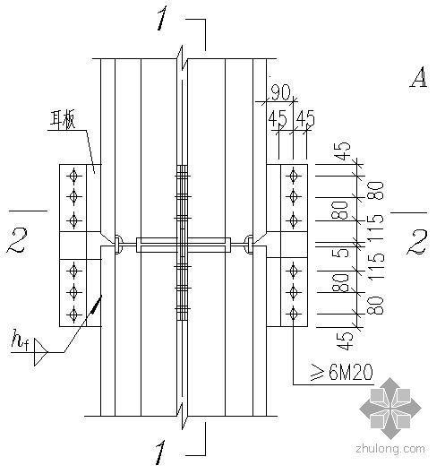某十字形截面柱的工地拼接及耳板的设置节点构造详图(1)
