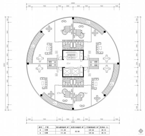 塔式高层一梯四户户型图(125/125/125/125)