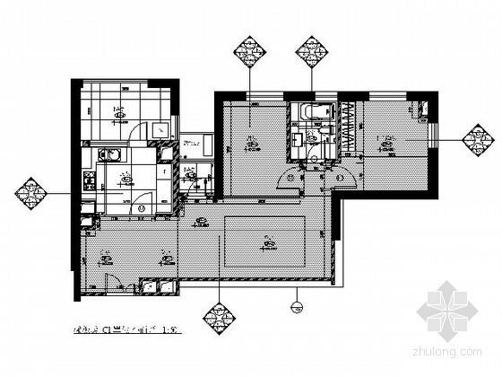 [上海]某现代两居样板房C1户型装修图