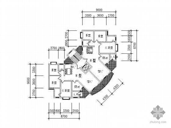 板式高层一梯二北梯转角户型图(120)
