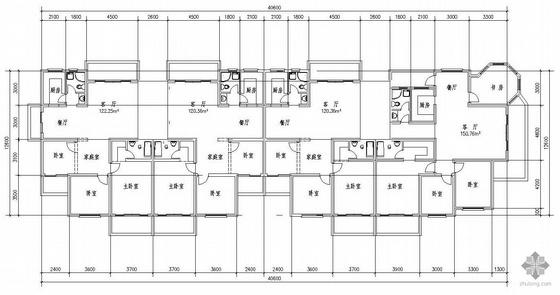 二层复式一梯二户户型图(514)