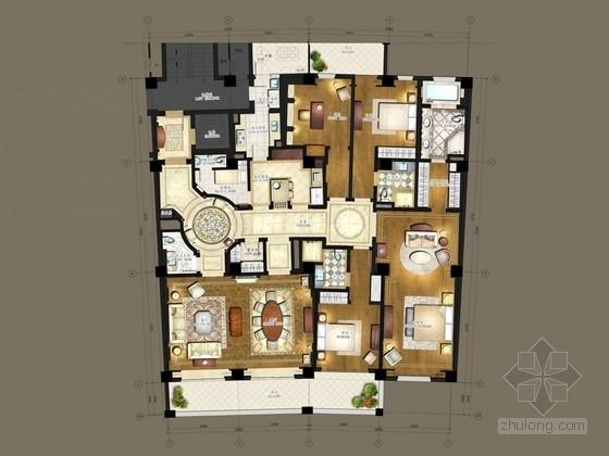 [上海]东方摩纳哥花园式四居室样板房家居室内设计方案