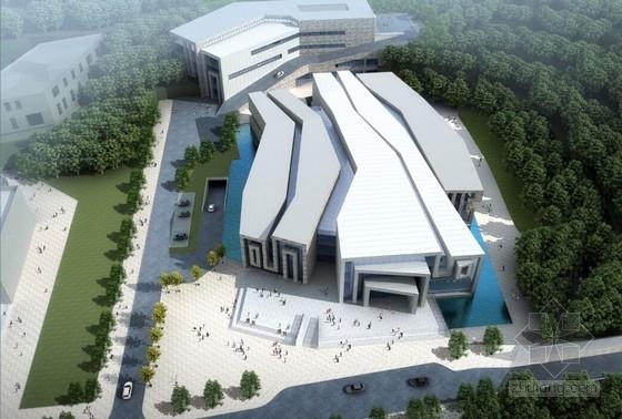 [湖北]造型独特艺术博物馆建筑及结构施工图(含钢结构计算书 计算模型)