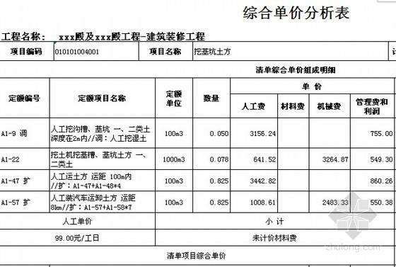 [广东]2015年寺庙建筑及安装工程预算书(附施工图纸软件应用)-03综合单价分析表
