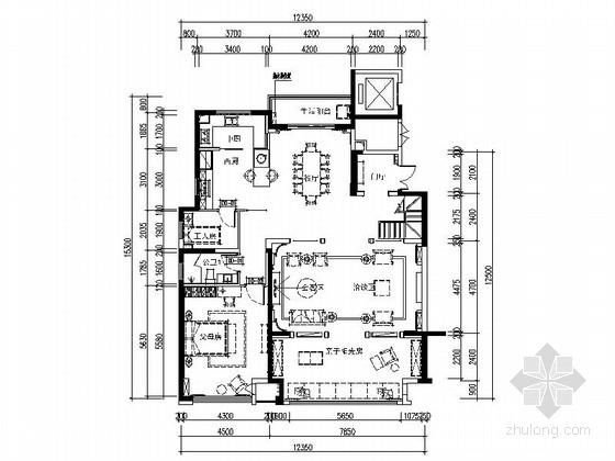 [常州]精品设计典雅新古典风格复式室内设计CAD施工图(含效果图)