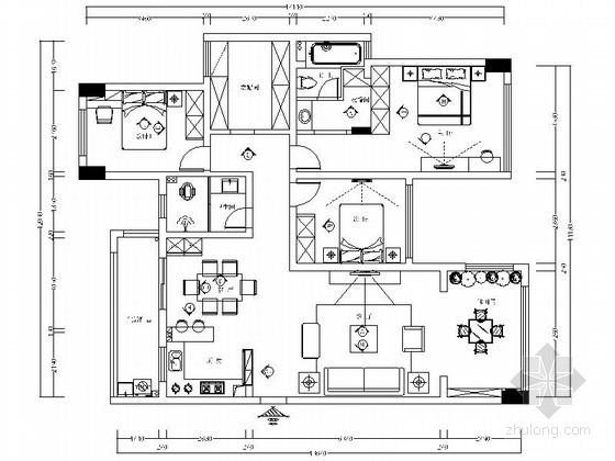 [深圳]现代时尚四居室装修设计施工图(含效果)