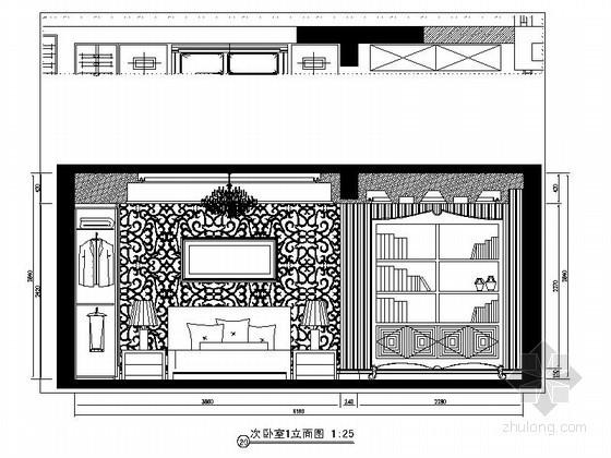 [重庆]某欧式四居室次卧室立面图