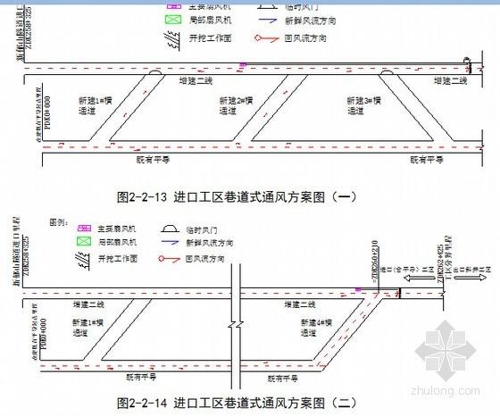 出口斜井工区巷道式通风方案图