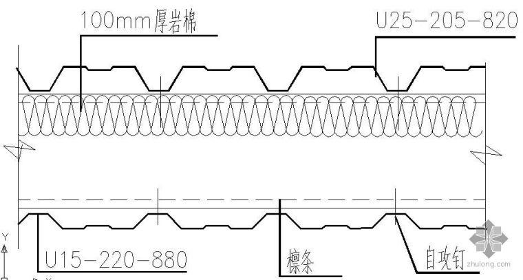 某墙面复合彩板节点构造详图[1]