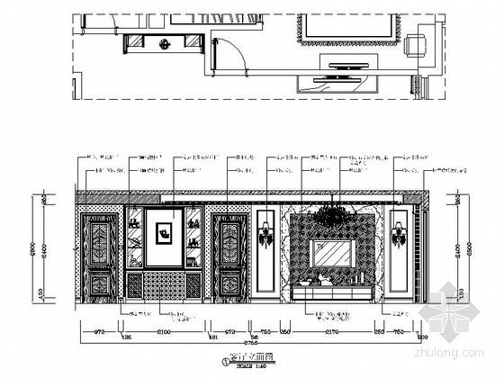 [广州]花园洋房小区欧式风情三居室雅居设计装修图客厅立面图