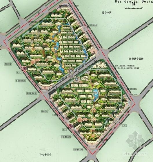 简欧风格住宅区规划总平面图