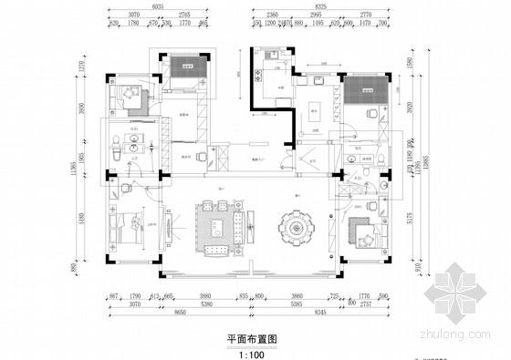 [四川]高档智能住宅小区三居室简欧风格CAD施工图(含效果图)