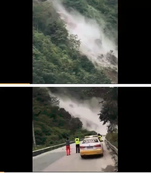 突发|云南香格里拉国道214突发山体滑坡大量土石倾泻而下_1