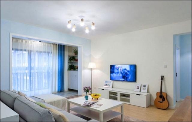 画板模样的客厅电视背景墙宜家风格设计效果图