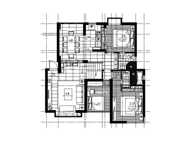 一套现代简约风格样板房CAD施工图(含效果图)