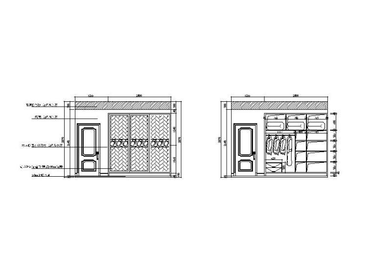 现代风格二居室样板房设计CAD施工图(含效果图)_6
