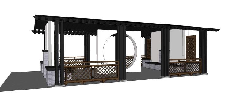 特色经典中式廊架景观SU模型设计