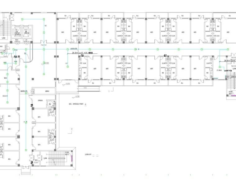[四川]高层精神病医院强弱电施工图(门诊住院综合楼,含病房呼叫对讲系统)-一层平面图