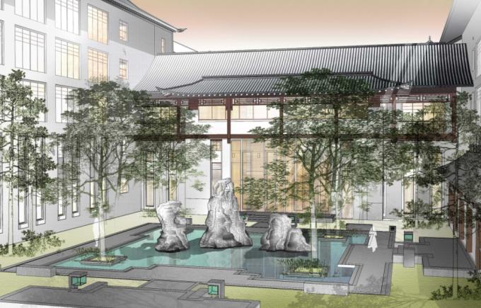 [天津]新中式生态酒店庭院景观设计方案(附实景图+CAD总平面图)