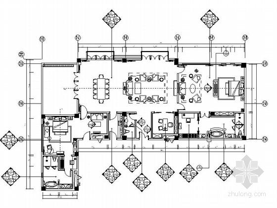 [西藏]清新蓝色调酒店豪华总统套房施工图(含效果图)