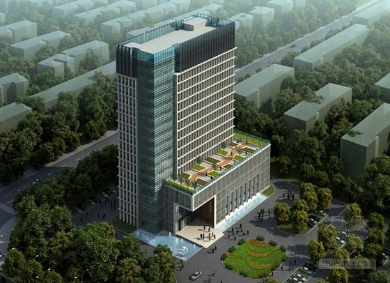 [江苏]新现代主义高层办公写字楼设计(含屋顶花园)