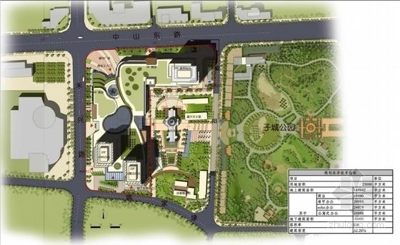 高档现代风格多层次商业综合体建筑总平面图