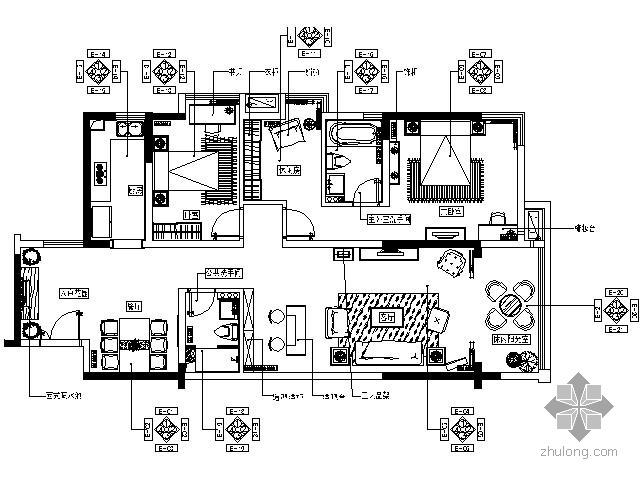 [山东]新欧式华丽样板房两居室施工图(含效果)