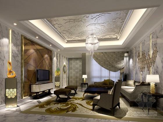 豪华客厅室内装修3D模型下载