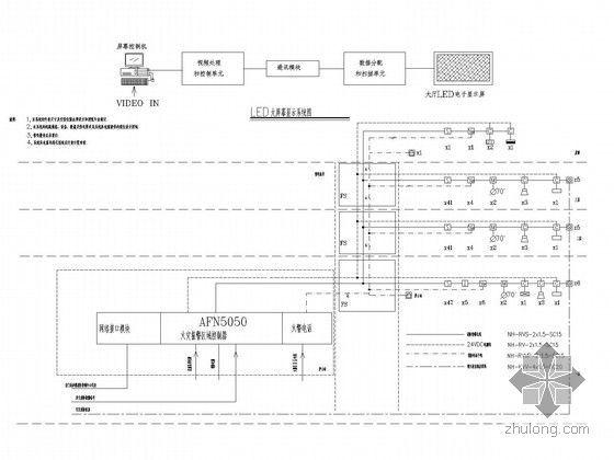 某中心医院康复中心及老干部病房楼电气施工图纸-消防系统图