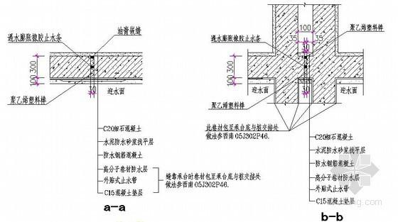 地下车库底板与底板(a-a)和双柱间底板(b-b)变形缝节点详图