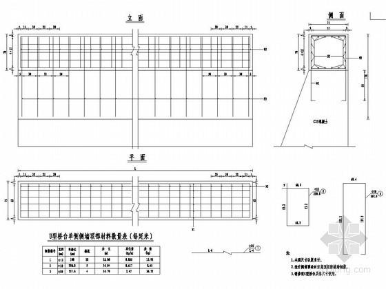 U型桥台施工工艺流程图资料下载-U型桥台侧墙顶部钢筋布置图