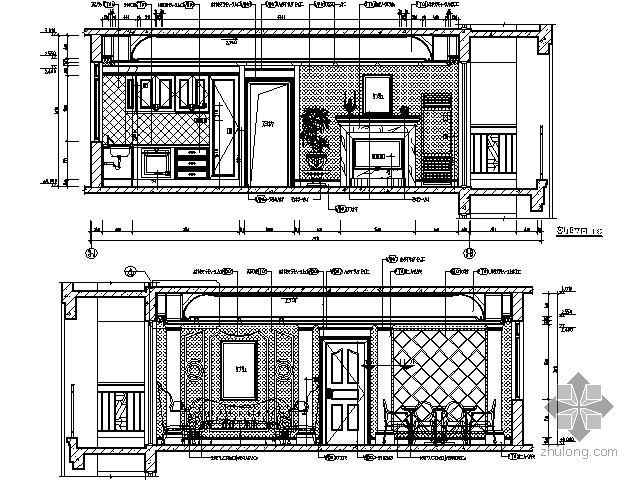 古典法式客厅立面图