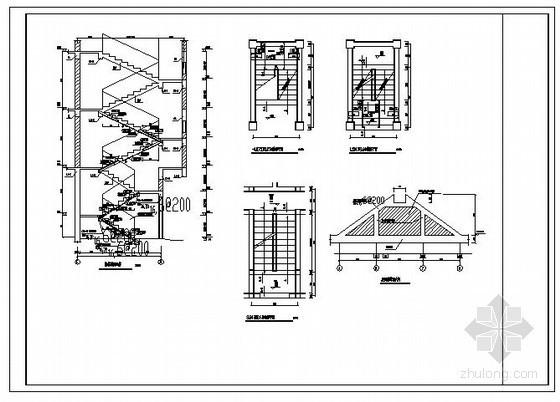 某坡屋顶及楼梯节点构造详图