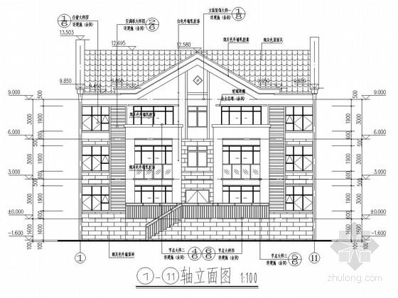 [江西]888平三层框架结构别墅结构施工图(含建筑图)