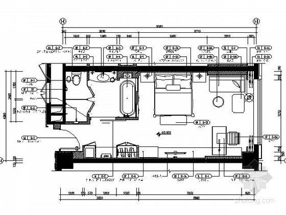 [成都]五星酒店标准单床间施工图