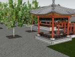 【SU模型】古建水榭荷花池模型