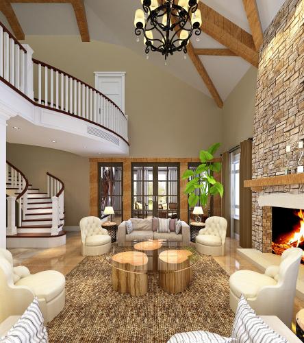 美式风格别墅设计CAD施工图(含效果图)效果图