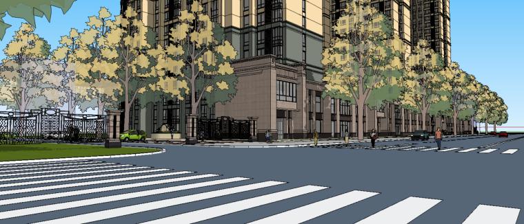 居住小区景观建筑方案设计(SU模型)