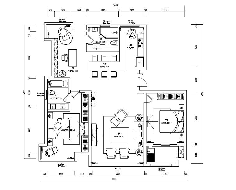 平行世界|江阴周庄丽景花园黑白灰空间住宅设计施工图(附效果图)