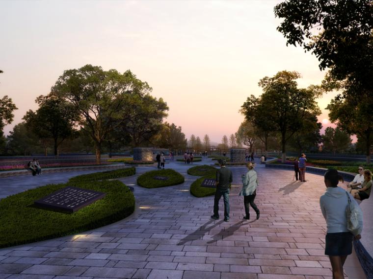 曲线广场景观设计效果图PSD分层素材