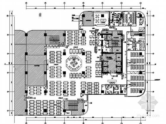[福州]中国知名保险公司办公室装修施工图(含高清效果图)