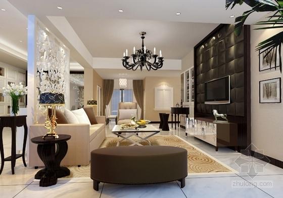 [武汉]主题公园生态区时尚现代三居室装修施工图(含效果实景图及手绘图)客厅效果图