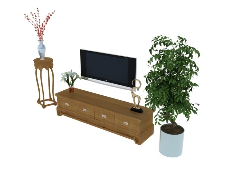 木纹电视柜3D模型下载